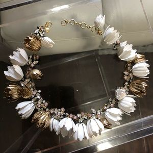 J. Crew white and gold Garden Party necklace